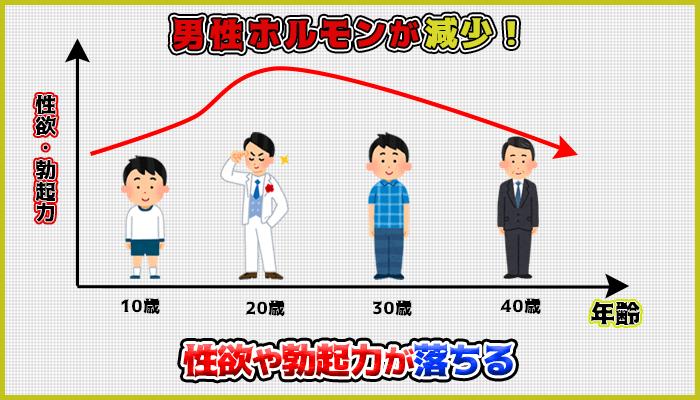 加齢による生殖機能の衰えで男性ホルモンが減少するの図