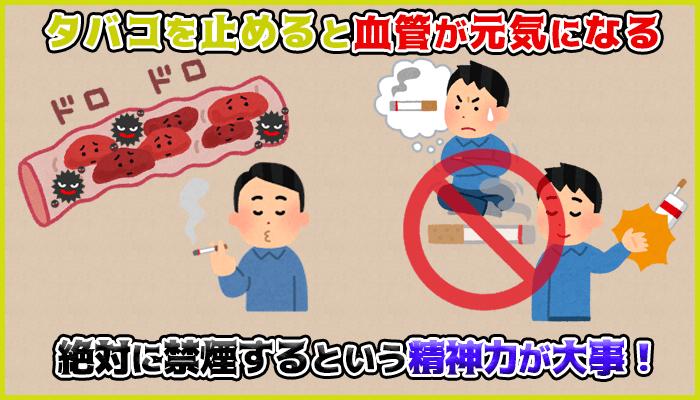 喫煙は血管にダメージを与えるので禁煙すれば中折れに効果的の図