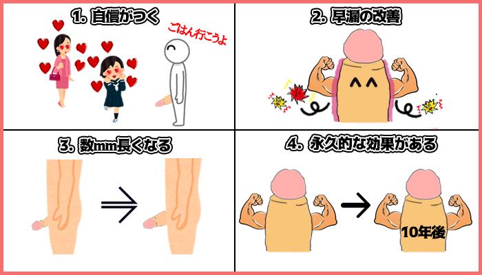 陰茎増大手術の4つの長所の図