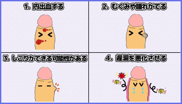 陰茎増大手術の4つの短所の図