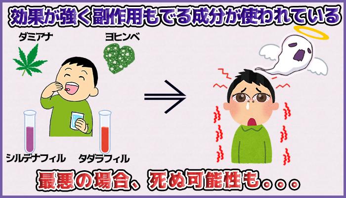 効果が強くて副作用がでる成分が使われているの図