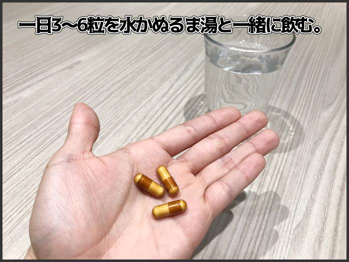 一日3~6粒水かぬるま湯で飲む